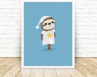 Sloth - Nursery Art - Illustrated Art Print - Childrens Bedroom - Illustration - Home Decoration - Wall Art
