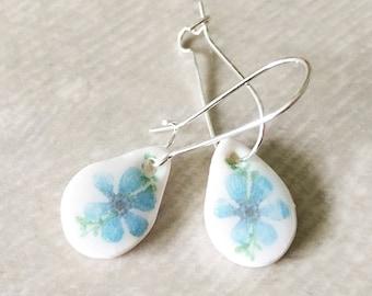Handmade Ceramic Blue Flower Earrings - Drops - Illustrated Jewellery - Botanical - Floral - Clay Earrings