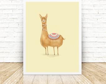 Alpaca - llama - Illustrated Art Print - Illustration - Home Decoration - Wall Art