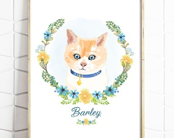 Custom Pet Portrait - Personalised Pet Drawing - Cat Dog Illustration - Birthday Gift - Present - Pet Rememberence - Digital File - Print