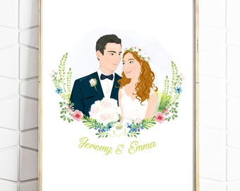 Couples Portrait - Wedding Portrait - Wedding Gift - Engagement Gift - Wedding Present - Anniversary - Print or Digital