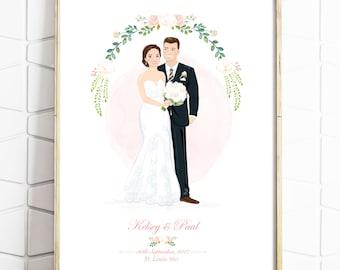 Custom Wedding Portrait - Personalised Couple Drawing - Illustrated Wedding Gift - Bride & Groom - Print - Digital File