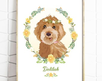 Custom Pet Portrait - Personalised Pet Drawing - Dog Illustration - Birthday Gift - Present - Pet Rememberence - Digital File - Print