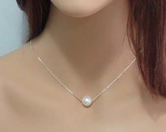 Floating Pearl Necklace, Single White Pearl Necklace, Mother of the Bride Gift, Mother of the Groom Gift, Bridesmaid Gift Necklace