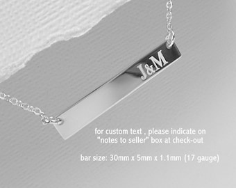 Personalized Bar Necklace, Initial Necklace, Double Sided Bar Necklace, Engraved Monogram Necklace, Layering Necklace, Bar Necklace
