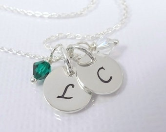 Double Initial Necklace, Sterling Silver Initial Necklace, Birthstone Necklace, Gift for Mom, Valentines Day Gift, Gift for Her