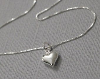 Sterling silver heart necklace,gift for wife,bridesmaid gift,crystal necklace,girlfriend gift,wedding jewelry,gift
