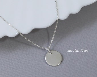 Layering Necklace, Circle Necklace, Sterling Silver Necklace, Gift for Her, Blank Disc Necklace, Disc Necklace, Minimalist Necklace