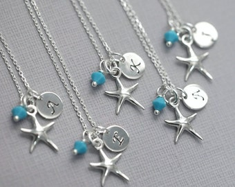 Starfish Necklace, Beach Wedding Necklace, Starfish and Custom Initial Sterling Silver Necklace, Personalized Bridesmaid Gift Necklace