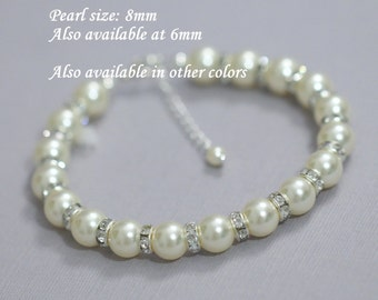 Swarovski Ivory Pearl Bracelet, Swarovski Bridal Bracelet, Swarovski Bridesmaid Bracelet, Ivory Pearl Bracelet, Ivory Pearl Bridesmaid Gift