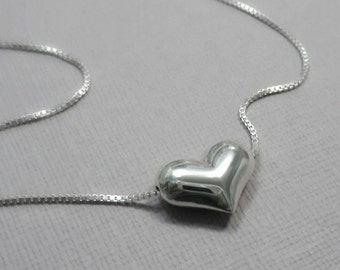 Heart Necklace, Gift for Her, Gift for Mom, Silver Heart Necklace, Sterling Silver Heart Necklace, Bridesmaid Necklace, Wedding Necklace