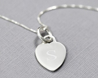 Engraved Sterling Silver Heart Necklace, Initial Necklace, Gift for Her, Gift for Wife, Girlfriend Gift, Silver Necklace Bridesmaid Necklace