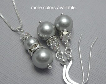 Gray Jewelry Set, Swarovski Light Grey Pearl and Clear Crystal Bridesmaid Necklace and Earring Set, Bridesmaid Gift, Wedding Jewelry Set
