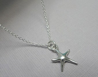Sterling Silver Starfish Necklace, Bridesmaid Gift, Bridesmaid Necklace, Beach Wedding Necklace, Casual Necklace, Gift for Her, Gift for Mom