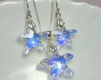 Swarovski Starfish Jewelry Set, Starfish Necklace and Earring Set, Starfish Jewelry, Beach Wedding Jewelry Set, Bridesmaid Gift