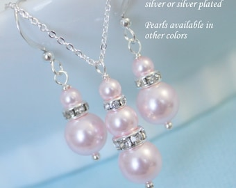 CHOOSE YOUR COLORS - Swarovski Light Pink Pearl Necklace and Earring Set, Bridesmaid Gift, Bridesmaid Earrings