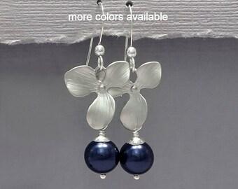 Dark Blue Earrings, Navy Pearl Earrings, Orchid Earrings, Bridesmaid Gift, Mother of the Bride Gift, Wedding Earrings, Bridesmaid Earrings