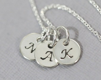 Triple Initial Necklace, Hand Stamped Initial Charm on Sterling Silver Chain, Gift for Mom, Gift for Her, Girlfriend Gift, Initial Necklace