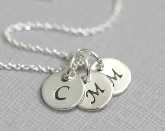 Triple Initial Necklace, Triple Initial Charm on Sterling Silver Chain, Gift for Mom, Initial Necklace, Initial Charm Necklace