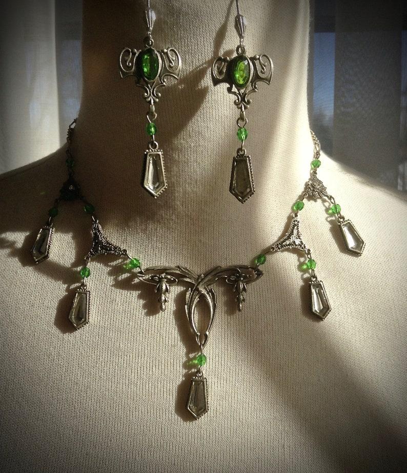 Art Deco Art Nouveau Emerald Vintage reimagined Necklace and Earrings Set
