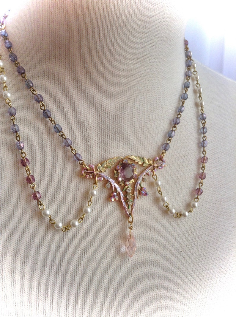 Marie Antoinette style Radiant Rococo Pearl and Amethyst Royal Necklace and Earring set