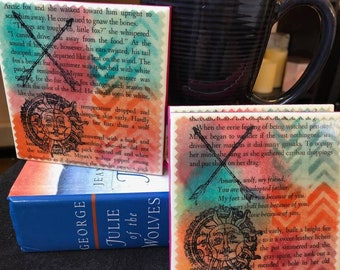 The Pack |  Julie of the Wolves Upcycled Book Page Coasters
