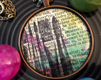 Paint |  Vintage Dictionary Page Statement Necklace