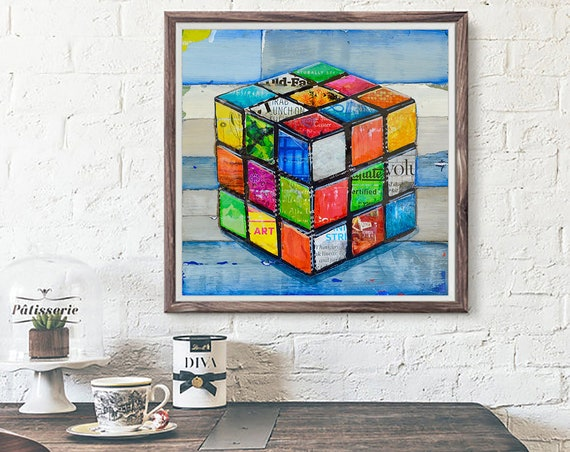 Hip 2 B Square - 80's Gaming ART PRINT wall decor mixed media collage painting  print, gaming gift, All Sizes