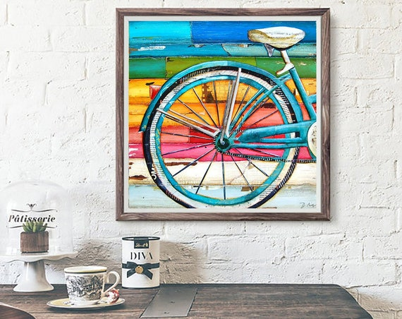 Bicycle bike biking cycling ART PRINT or CANVAS Beach ocean coastal home wall decor summer retro vintage gift painting collage, All sizes