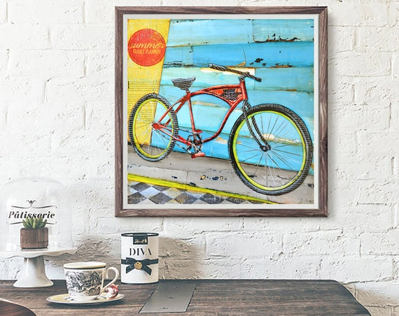 ART PRINT or CANVAS Bicycle bike biking cycling Beach ocean coastal home wall decor summer retro vintage gift painting collage, All sizes