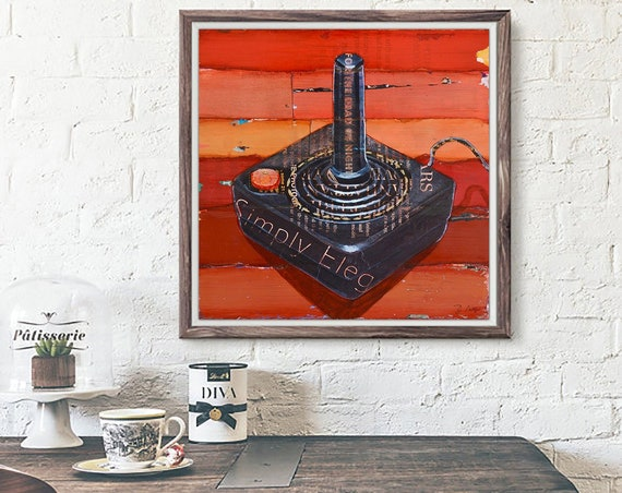 JOYstick - Retro Vintage Game Controller Gaming ART PRINT wall decor mixed media collage painting  print, gaming gift, All Sizes