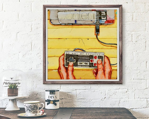 Hands On - Retro Vintage Controller Inspired Gaming ART PRINT wall decor mixed media collage fine art painting, gaming gift, All Sizes
