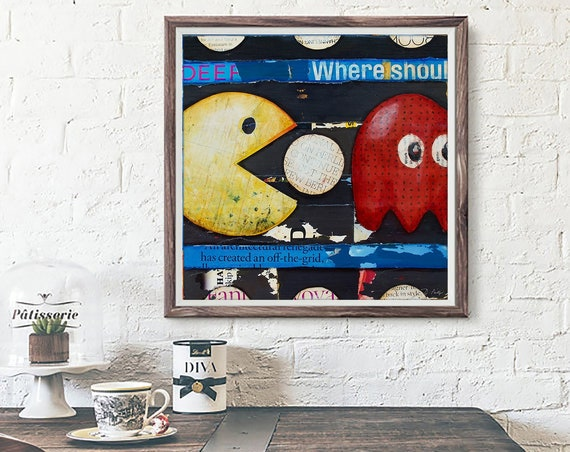 Wakawakawaka - Retro Vintage Gaming ART PRINT wall decor mixed media collage fine art painting, gaming gift, All Sizes