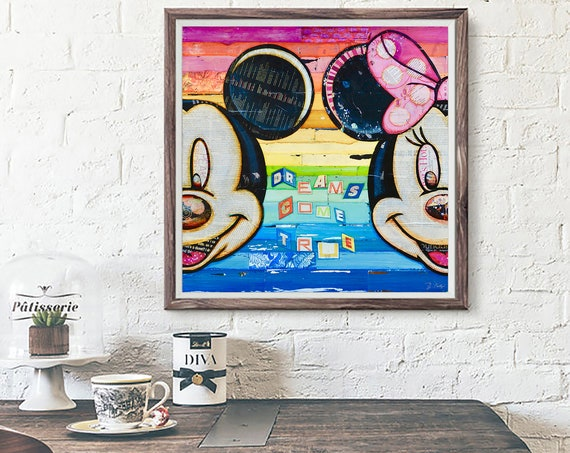 Dreams Come True ART PRINT, Mickey and Minnie Mouse, Disney Wall Art Decor Poster, Mixed Media Collage Gift, All Sizes
