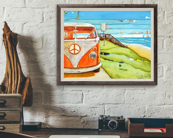 Orange Classic Car Beach ART PRINT or CANVAS classic vintage retro summer retirement vacation coastal poster wall home decor,All Sizes