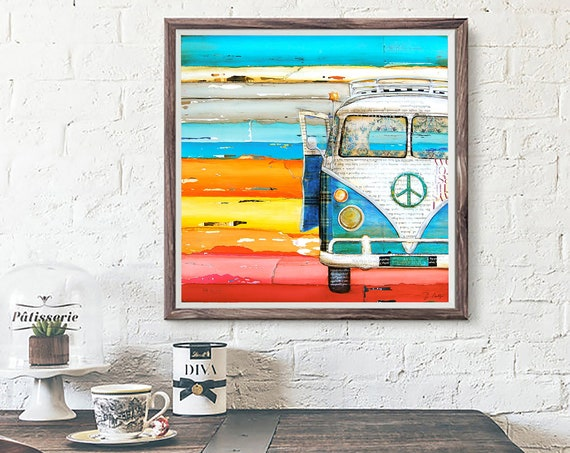 ART PRINT antique classic car van retro vintage beach coastal wall decor poster painting summer gift nostalgia wedding, All Sizes