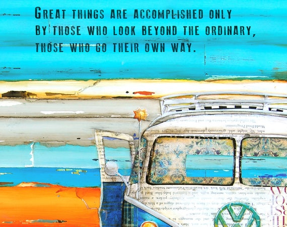 ART PRINT, graduation vw bus van volkswagen adventure wall decor birthday anniversary engagement wedding retirement gift, All Sizes
