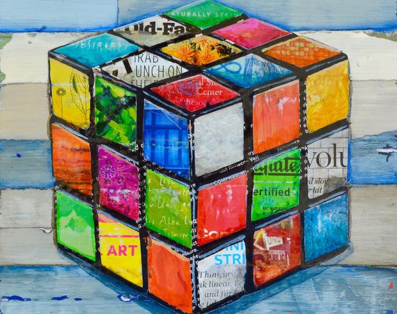 Hip 2 B Square - Rubik's cube ART PRINT wall decor mixed media collage painting  print, gaming gift, All Sizes