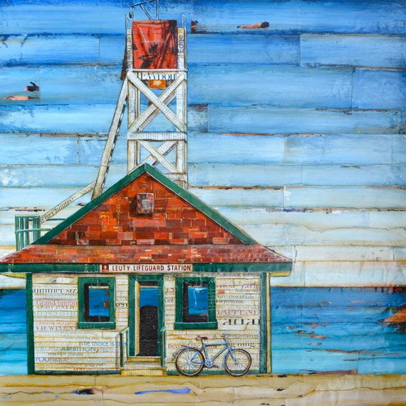 BEACH ART PRINT lifeguard shack Canada bicycle bike art cycling coastal wall beach decor poster summer gift for him painting, All Sizes