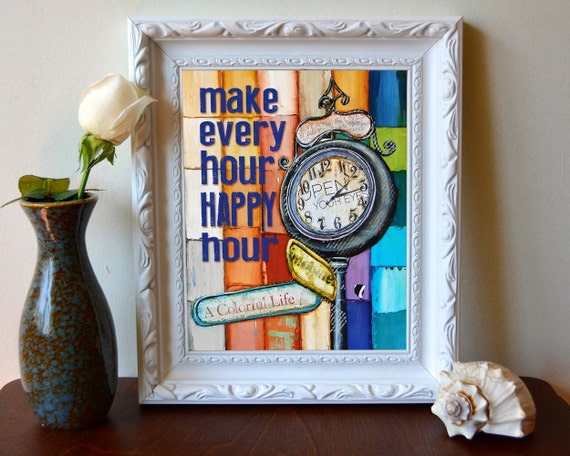 Print, Art, Art print, Happy Hour, grandfather clock, retro, inspirational art, girlfriend birthday gift, wall decor, home poster, All Sizes