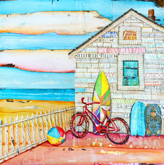 Ain't it Fun BEACH ART PRINT, Canvas Beach House beach decor summer gift, mixed media painting, coastal decor art,sunrise, All Sizes