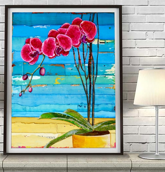 Orchids at the Beach ART PRINT or CANVAS Vintage Hawaiian Hawaii summer wall home decor poster, mothers day gift, retirement gift, All Sizes