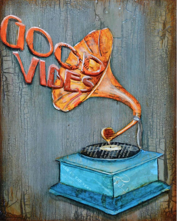 Vintage Record Player ART PRINT phonograph good vibes motivational inspirational print wall decor poster collage painting collage,All Sizes