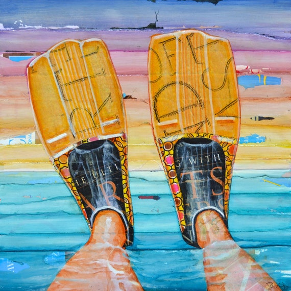 ART PRINT or CANVAS fins flippers nautical beach scuba snorkel coastal wall home decor poster retirement summer key west painting, All Sizes