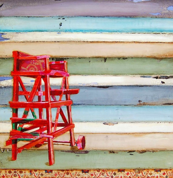 BEACH ART PRINT, Lifeguard ocean beach coastal wall decor gift swim vacation family, All Sizes