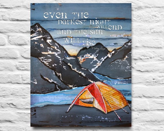 Victor Hugo Quote ART PRINTABLE  Mountain Sunrise Camping Tent River Mixed media painting art home decor wall poster sign diy, 8x10 11x14
