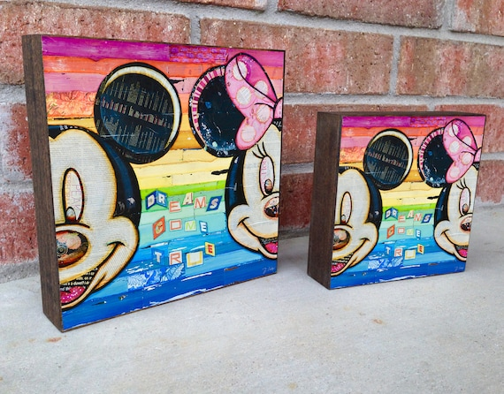 Dreams Come True ART PRINT on Wooden Block, Mickey and Minnie Mouse, Disney Artwork, Fine Art Block, Wall Home Decor Sign Gift