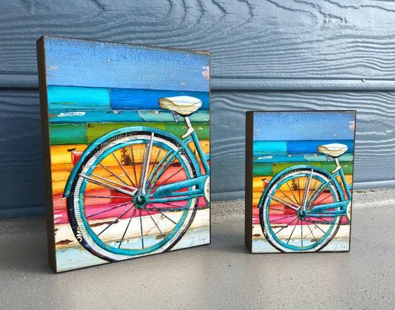 Lifecycles- Bicycle, Biking, Bike  ART PRINT on Wooden Block - Fine Art Block, Rainbow Colors, Sign, Gift