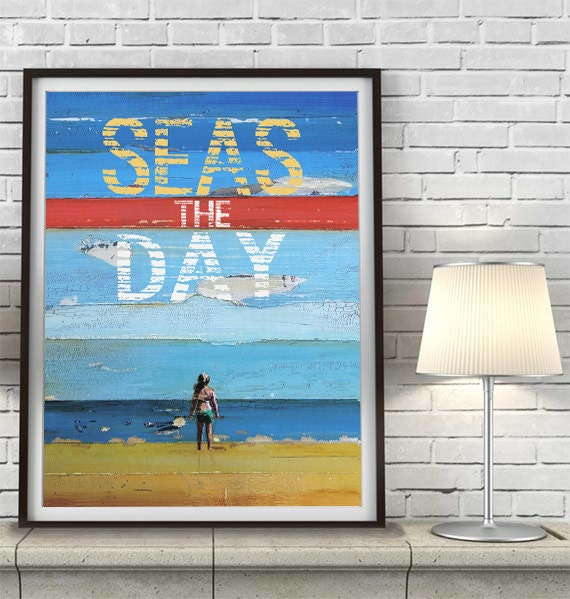 Seas the Day, Carpe Diem, Inspirational, Christian print, Couple, Ocean Sand Beach Decor, Dead poets society Engagement gift,All Sizes