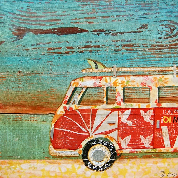 BEACH art PRINT or CANVAS vintage volkswagen vw van bus coastal ocean wall home decor summer gift for her him Santa Cruz painting, All Sizes
